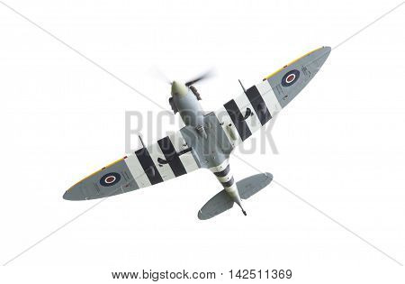 Leeuwarden, The Netherlands - June 10, 2016: A Vintage Spitfire Fighter Plane Makes A Low Flypast Fo