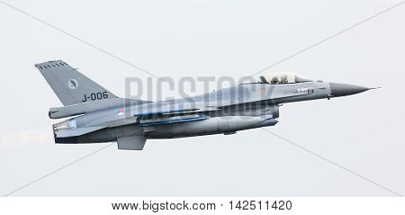 Leeuwarden, The Netherlands - Jun 11, 2016: Dutch F-16 Fighter Jet Take Off During The Royal Netherl