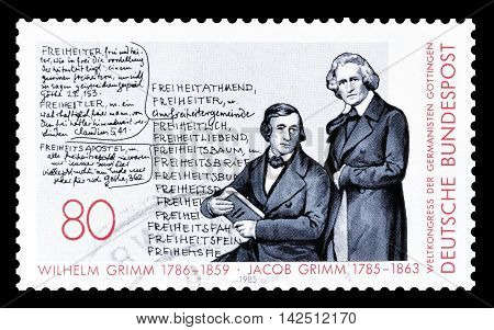 GERMANY - CIRCA 1985 . Cancelled postage stamp printed by Germany, that shows Grimm brothers.