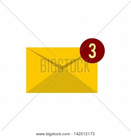 Three new e-mail icon in flat style isolated on white background. Message symbol