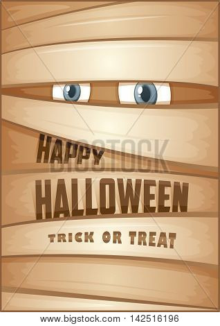 Poster with mummy. Halloween poster. Halloween Party Poster. Vector illustration.
