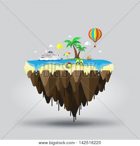 Floating island beach tourism. Travel and tourism