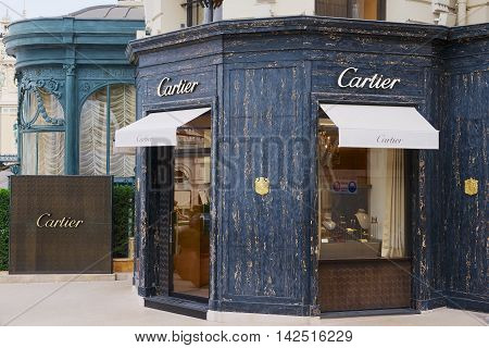 MONTE CARLO, MONACO - JUNE 16, 2015: Exterior of the luxury Cartier store next to the famous Monte Carlo Casino, Monaco.