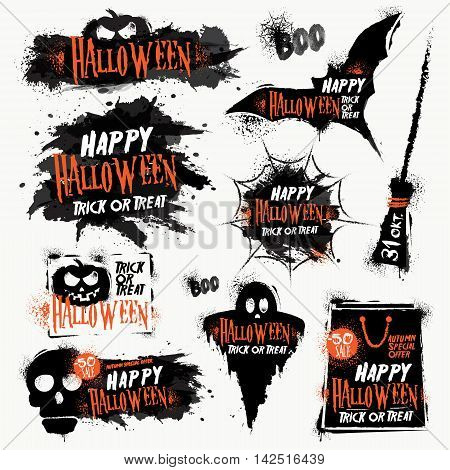 Halloween Inks set. Stylized drawing in vintage style. Halloween autumn sale. Stains Inks