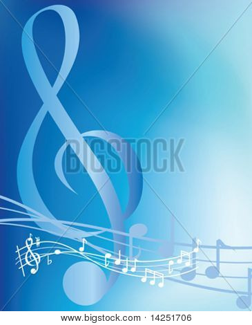 illustrated blue musical notes abstract background