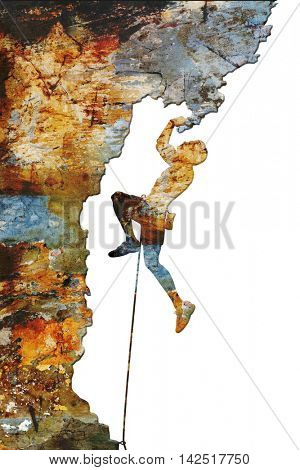 Illustration of a rock climber on an overhang with colorful abstract texture poster