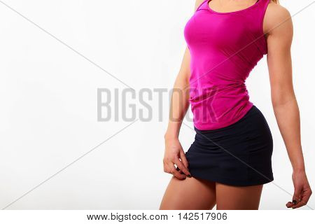 Women's fitness, sports girl on a light background. Healthy lifestyle.