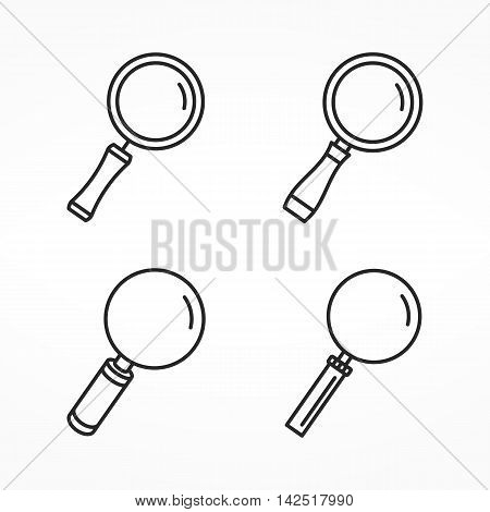 Set of four different line icons of magnifying glass, minimal line icons, zoom icons, vector eps10 illustration