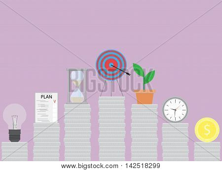 Successful steps in business. Effort to achieve the goal startup increase vector illustration