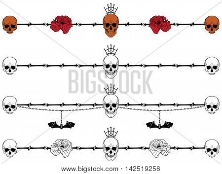set of vector vignettes with skulls poppy and bat