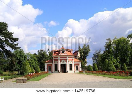 In the park from Mnichovo Hradiste castle Czech Republic is an orangery and a garden pavilion