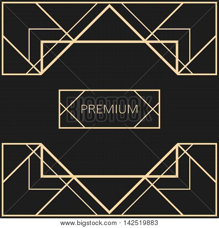 Vector geometric frame in Art Deco style. Square vector abstract element for design. Light golden vector frame.