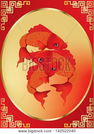 Greeting season with beautiful Koi carps on gold and red background