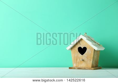 Nesting Box On A Green Wooden Table