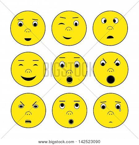 Emoticon set. Yellow faces with different emotions for app site social media. Vector illustration of smile surprise anger boredom and others