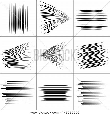 Speed lines Flying particles Fight stamp Manga graphic. Sun rays or star burst Black vector elements on white background