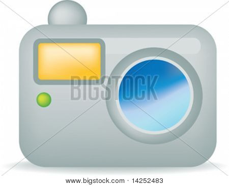 illustration of a simple silver camera on white