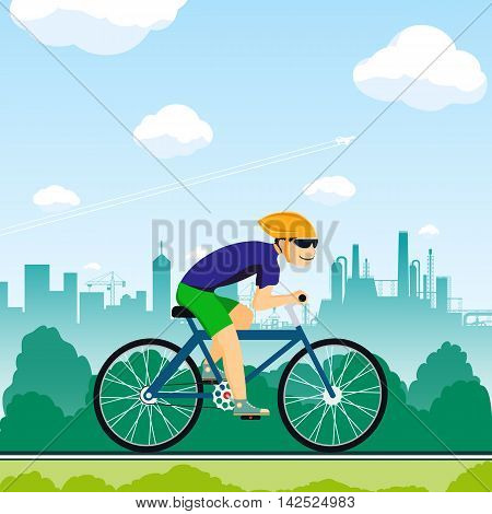 Man rides a bicycle. Healthy lifestyle. Sport competitions. Stock Vector cartoon illustration.