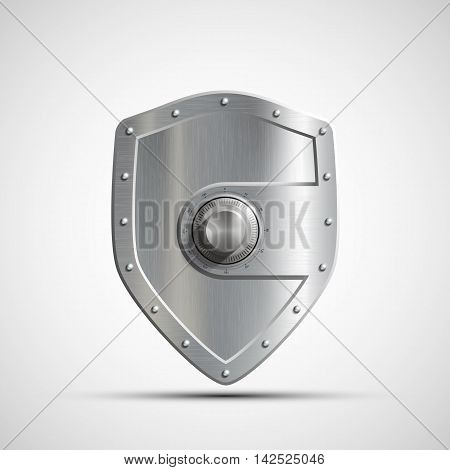 Icon metal safe in the form of a shield. Bank deposit. Stock vector illustration.