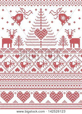 Scandinavian style and Nordic culture inspired Christmas,  festive winter seamless pattern in cross stitch style with bells, trees , snowflakes, birds, stars, reindeer, hearts, decorative ornaments