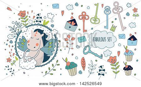 Cute magic collection with bird, key, flowers, cakes, clouds and fairy wings. Dream Spring animals and flowers. Fairytale design.Vector isolated illustration on white.