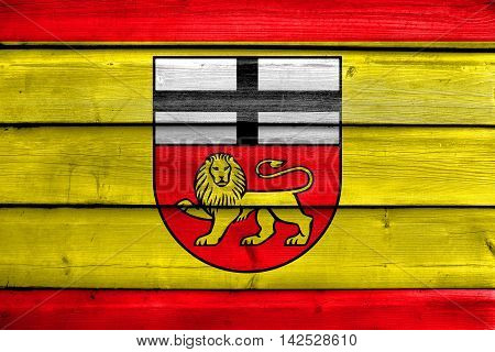 Flag Of Bonn, Germany, Painted On Old Wood Plank Background