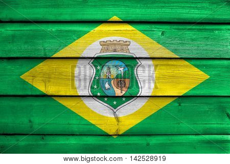 Flag Of Ceara State, Brazil, Painted On Old Wood Plank Background