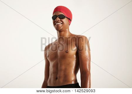 Closeup Of A Young Black Swimmer In Cap And Goggles