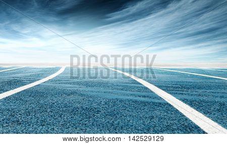 Low-angle Shot Of Stadium Running Track, Dramatic Sky Background