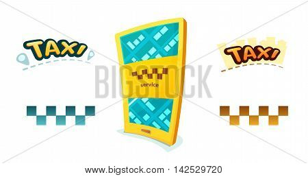 Smartphone with application Taxi, checkerboard sign and taxi logos, vector illustration