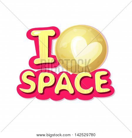 I love space logo, concept design with Pluto, vector illustration