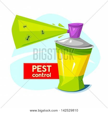 Pest control logo, concept design, the chemical agent in aerosol and insects, vector illustration