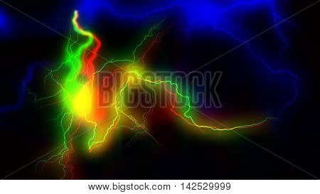 Colourful energy discharge 3d rendering