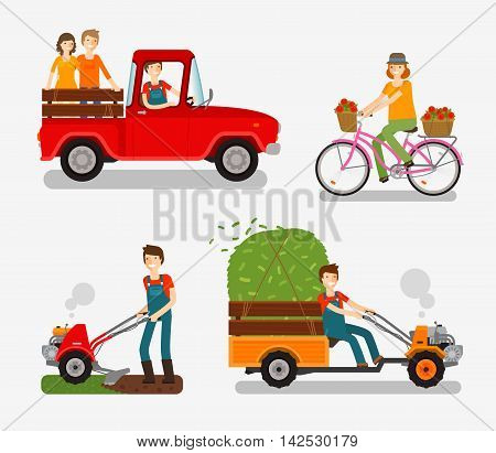 Farm icons set. Cartoon character such as farmer, truck, bike, tillers, motor cultivator. Vector illustration