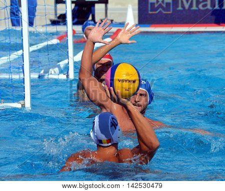 Budapest Hungary - Jul 15 2014.Italian team defending agains Romania. The Waterpolo European Championship was held in Alfred Hajos Swimming Centre in 2014.