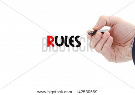 Rules text concept isolated over white background
