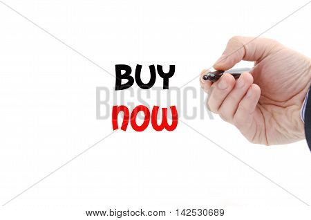 Buy now text concept isolated over white background