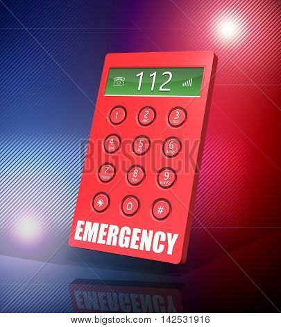 3d render of an emergency keypad with 112 abstract background.