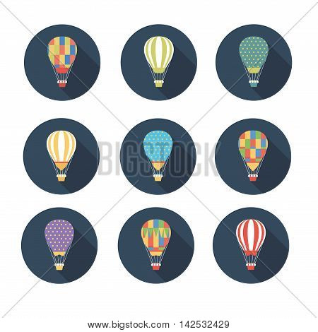 Set of vector icons air balloon .Vector illustration