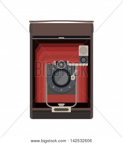 Vector Illustration in Flat Style of a Retro Style Camera