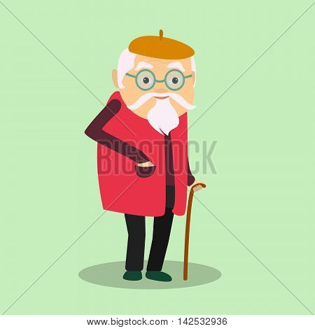 Vector illustration of a grandfather . Old man.
