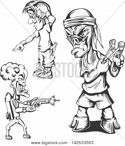 Set of teenage hooligan guys. Vector illustrations.