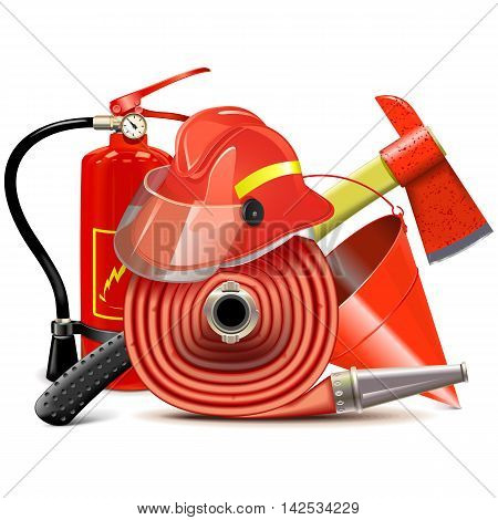 Vector Fire Prevention Equipment Concept isolated on white background