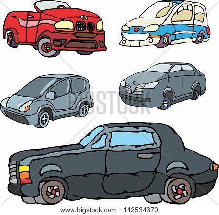 Set Of Comic Non-brand Cars
