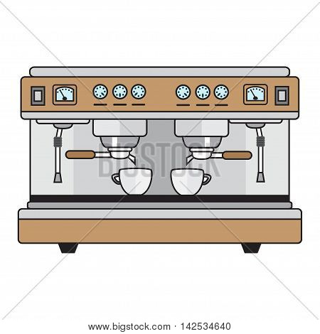 professional coffee machine metallic colors in a flat style.