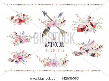 Set of watercolor vintage floral bouquets. Boho spring flowers and leaf frame isolated on white background: succulent branches leaves feathers berries peony rose. Hand painted natural design