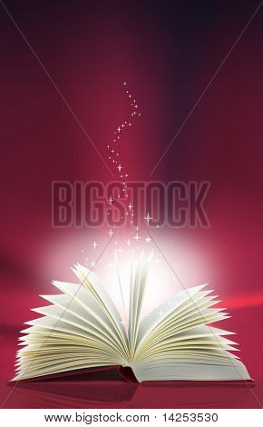Open red magic book