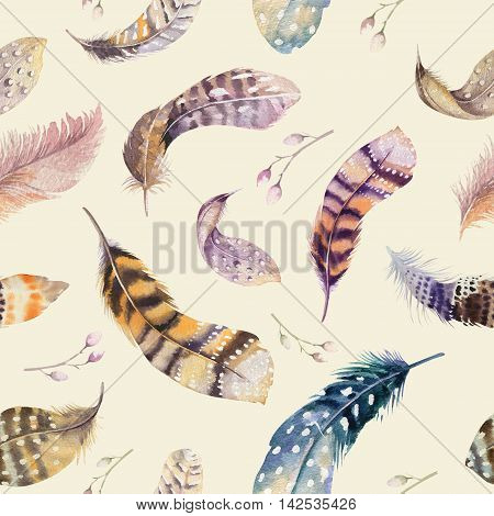 Feathers repeating pattern. Watercolor background with seamless illustration. Watercolour color organic design. Seamless boho texture with hand drawn feathers. Bright colors.