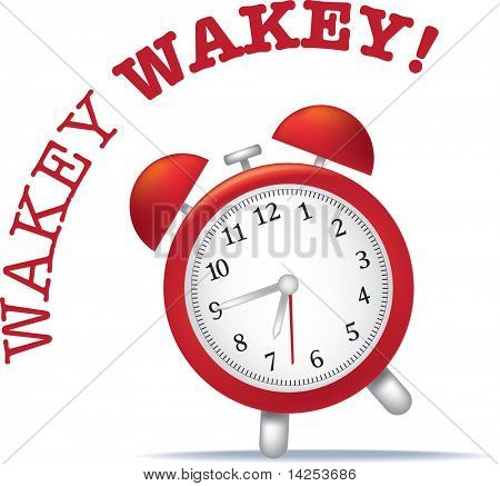 illustration of a alarm clock with wake up text