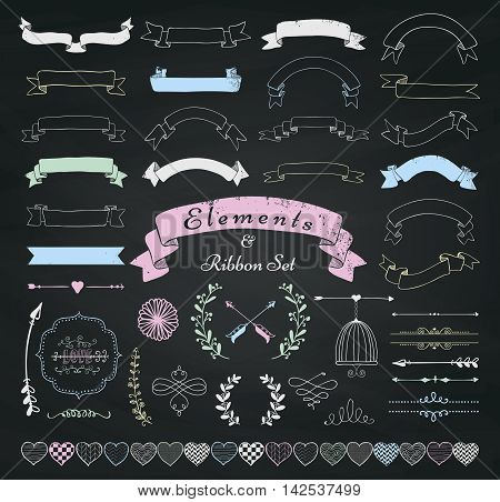 Set of Chalk Drawing Doodle Sketched Rustic Decorative Wedding Design Elements and Ribbons. Grunge Textured Ribbons and Badges on Chalkboard Background. Vintage Vector Illustration.